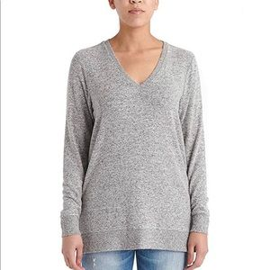 Lucky Brand brushed knit grey tunic sweater Sz M